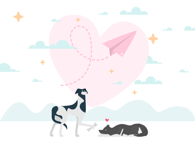 Happy Valentine's Day romance itgdigital proposal dinosaur dog valentinesday valentine day valentine romantic love woman people illustrations composition vector illustrator itg illustration