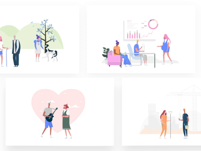 More cool illustrations growth travel meeting date business phone garden music paint dashboard presentation romantic couple itg.digital illustrations composition vector illustrator itg illustration
