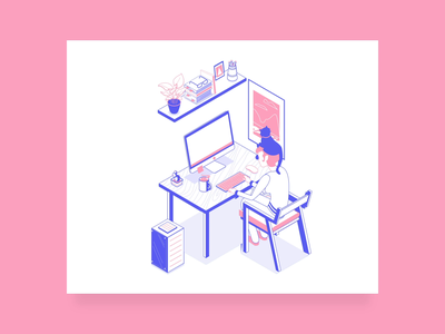 Work from home and support ITG on Webby animated illustration motion animation desk rempte remote work freelance quarantine covid work from home home work illustrator isometric illustration isometric illustration itg.digital itg cat webby