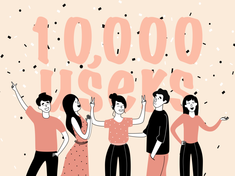 10K users numbers celebrate milestone announcement anniversary congratulation happy people builder png svg party illustration itgdigital itg users followers
