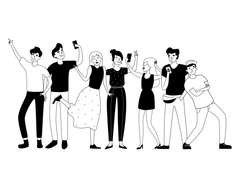 ITG - New Style Characters persona friends party phone selfie white black character boy girl man woman vector itg flat people illustrations composition illustrator illustration
