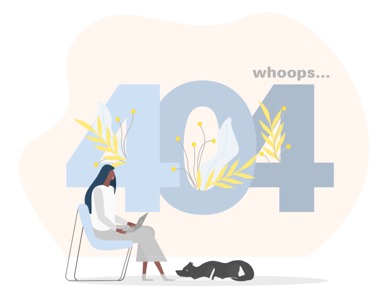 ITG Digital - 404 page animal flowers 404page 404 error page not found error no results 404 dog woman people illustrations flat composition itg vector illustrator illustration