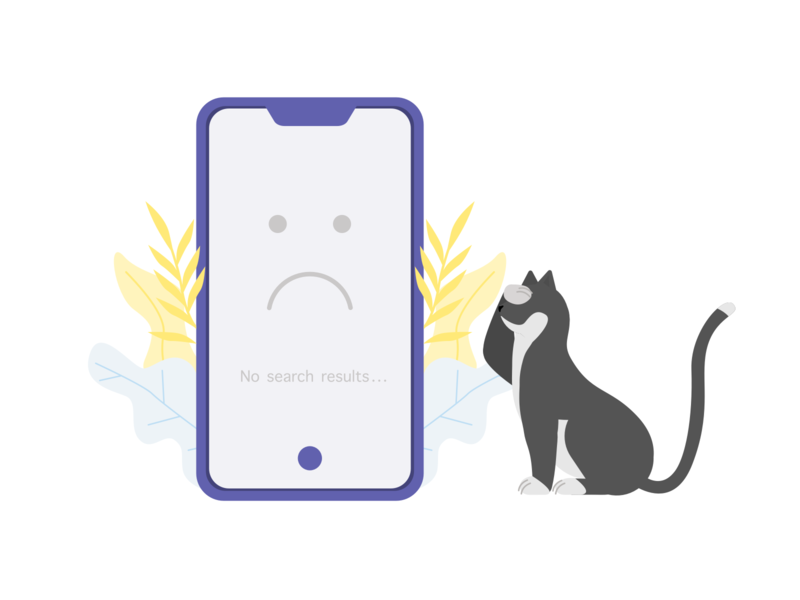 ITG - No search results flowers phone animal fun error 404 no results search results search cat illustrations flat composition vector itg illustrator illustration