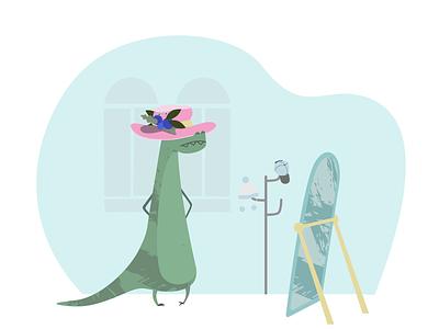 ITG  dino in hat choice animal itgdigital shopping fun clothes mirror hat dinosaur dino flat illustrations composition vector itg illustrator illustration