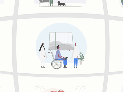 ITG.digital - Infinite combinations of Illustrations! cat work health wheelchair dashboard fun dog motion animation constructor builder itgdigital people flat illustrations composition vector itg illustrator illustration