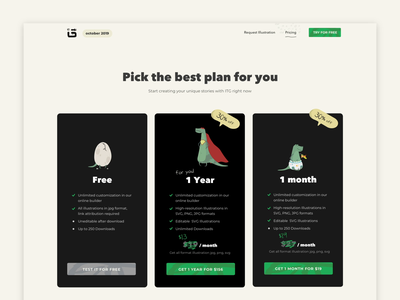 ITG - pricing egg sas website illustration illustrations subscription lottie hover motion animation dinosaur dino pricing plans plans discount pricing page price pricing