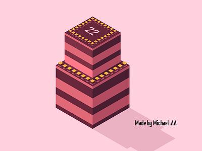 An Isometric Cake minimal vector logo illustrator flat isometric illustration isometric design isometric art illustration design
