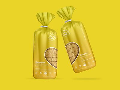 Yellow Bread Bag Packaging shopify organic vegan bread packaging design branding brand identity packaging