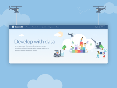 Develop with data banner people trees helicopter xls csv illustration banner