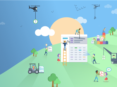 data.world features and benefits banner data science data.world characters people illustration illustrator