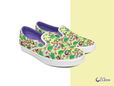 Touc Fruits Shoes - Pattern Illustration colorful america digital art fruits toucan illustration design pattern shoes
