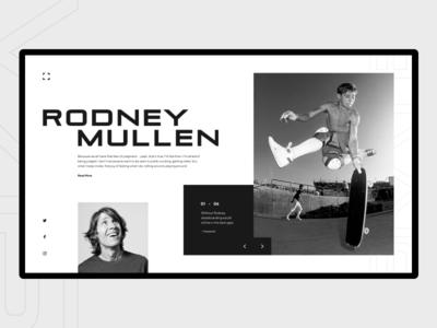 R. Mullen rodney mullen art branding minimalism lines grid ux ui flat clean layout composition minimal landing page website webdesign skateboarding typography design geometric