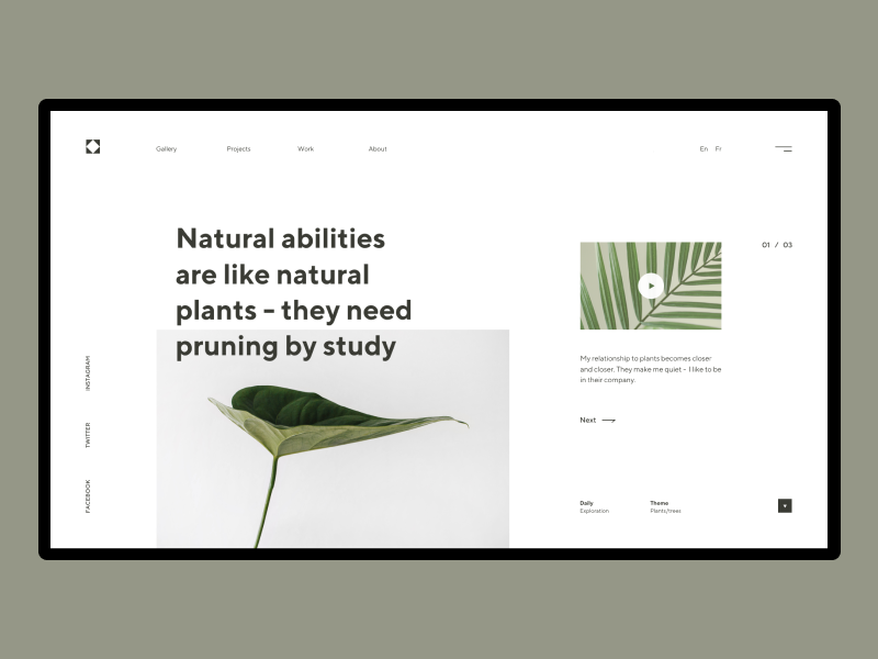 Natural Abilities simple design minimalism art ux ui typo plants nature composition minimal flat geometric typogaphy landing header grid design webdesign web  design layout