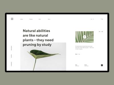 Natural Abilities simple design minimalism art ux ui typo plants nature composition minimal flat geometric typogaphy landing header grid design webdesign web  design layout
