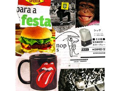 Call me I'll draw humor monkey music rollingstones collageonpaper handmade artist art collage art collageart collage colagem artmajeur