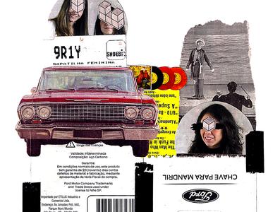 'Strolling and singing' contemporaryart kunst manual original vintage retro car typography type collageonpaper handmade artist art collage art collageart collage colagem artmajeur