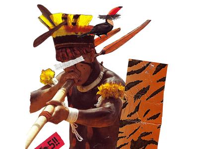 'Smile we are the same ethnicit' music brazilian bird texture animals indigenous collageonpaper handmade artist art collage art collageart collage colagem artmajeur