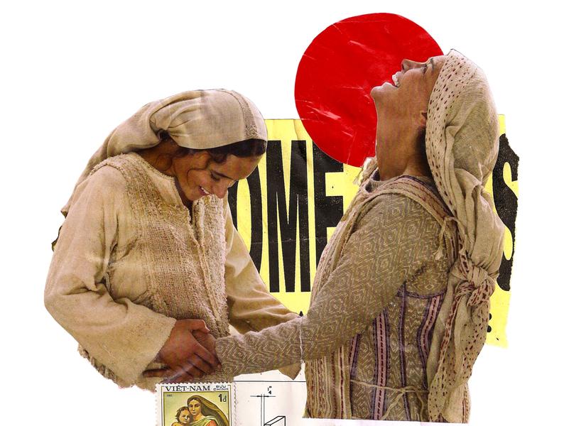 'Here only life and health pulsa' handmade contemporaryart manual kunst woman red minimal circle design photography retro art vintage collageonpaper collage art artist collageart collage colagem artmajeur