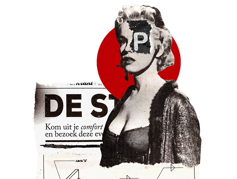 'Highlight for the 'P'' popart handmade kunst contemporaryart typography type photography minimal pinup retro art vintage collageonpaper collage art artist collageart collage colagem artmajeur