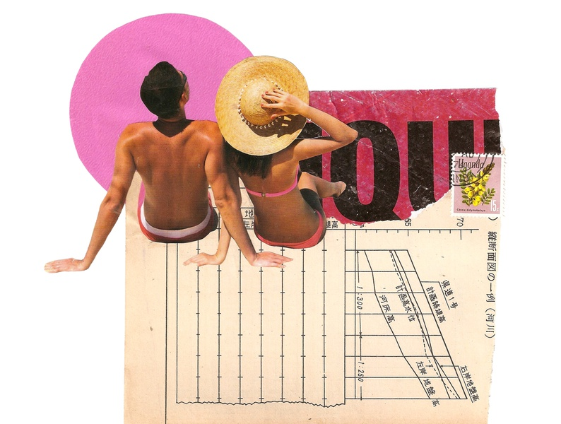 'Very cool for those who haven't seen the sun in so long' type typography romantic couple love design minimal kunst contemporaryart retro art vintage collageonpaper collage art artist collageart collage colagem artmajeur