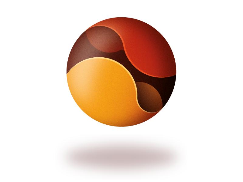 Red Ball golden ratio design degrade vector shapes illustrator