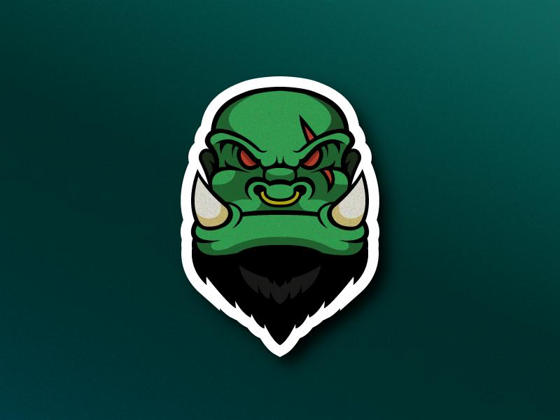 Ork orc fantasy design vector illustrator logo