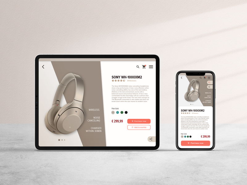 E-Commerce Shop App Design feedbackplease dailyui012 daily 100 challenge daily ui headphones sony e-commerce website e-commerce app e-comerce interface design user inteface minimal responsive design e-commerce shop web app ux ui