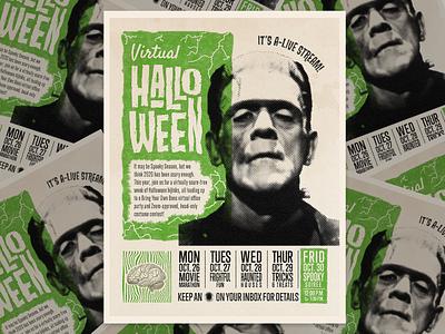 Virtual Halloween Event Poster layout poster design poster frankenstein classicmonster classic halloween midcentury truegrit texture vintage retro identity branding illustrator illustration design