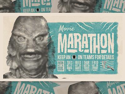 Virtual Halloweek- Movie Marathon midcentury identity vector branding print mid century vintage retro classic type typography illustrator illustration layout design halloween monster creature