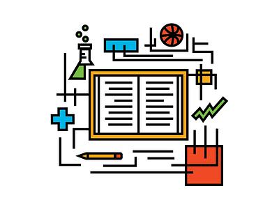 Academic Illustration print education dribbble clean print design symbols symmetry icon design icon visual design infographic college academic branding design illustrator vector illustration