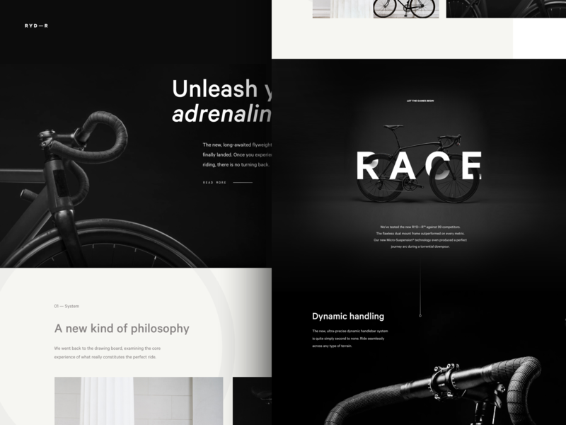 RYD—R black powerful lifestyle minimalist dark brand website clean bicycle bike high end digital type typography minimal luxury layout product landing exploration