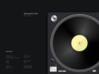 Technics SL-1210 Turntable illustration minimalist clean dark minimal technics vinyl deck turntable music