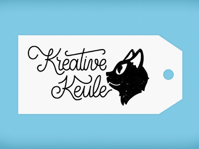 Kreative Keule label cat illustration lettering logo branding