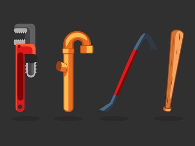 Survival Game Props game cartoon 2d illustration vector inkscape baseball-bat crowbar pipe wrench
