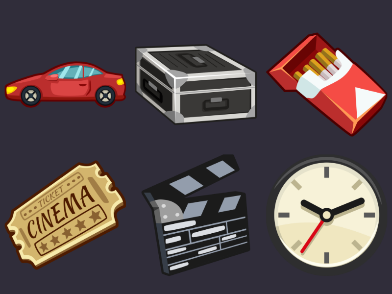 Detective Pack Icons 1 wall clock case cigarettes icons clapperboard cinema ticket car game cartoon 2d vector inkscape