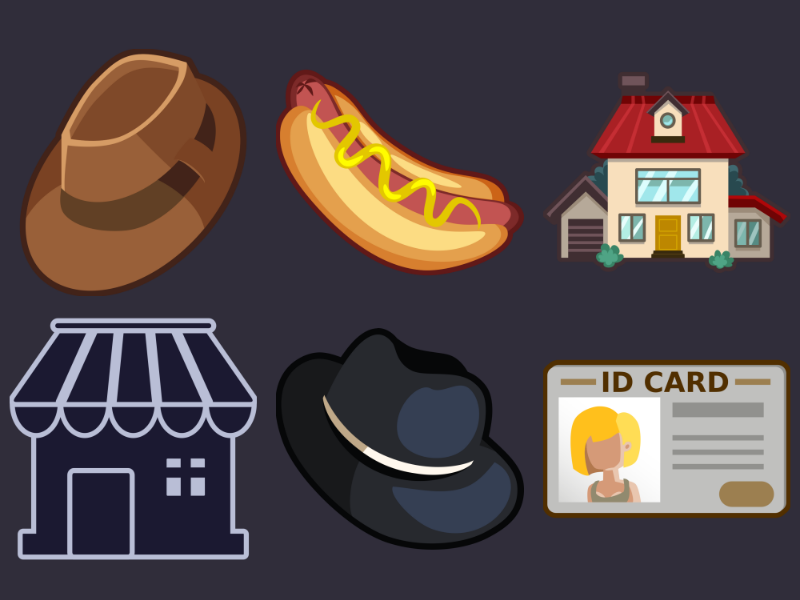Detective Pack Icons 5 icons set id card ui house hat hotdog icons game 2d vector cartoon inkscape