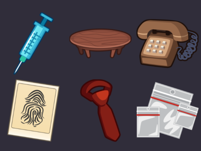 Detective Pack Icons 6 ziplock tie thumbprint telephone table syringe icons game 2d vector cartoon inkscape