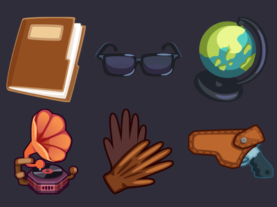 Detective Pack Icons 9 gun holster gloves gramophone globe glasses folder design ui game 2d vector cartoon inkscape