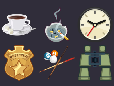 Detective Pack Icons 11 binoculars billiard detective badge clock ashtray coffee design icons game 2d vector cartoon inkscape