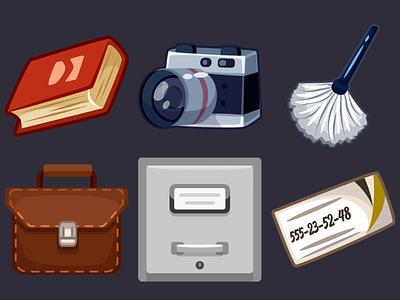 Detective Pack Icons 12 business card box fingerprint brush camera book design icons game illustration 2d vector cartoon inkscape