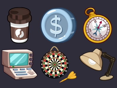 Detective Pack Icons 13 desk lamp darts computer compass coin coffee icons game 2d vector cartoon inkscape