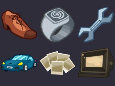 Detective Pack Icons 14 spotlight sportscar snapshots shoes spanner signet shoe design icons game 2d vector cartoon inkscape