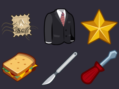 Detective Pack Icons 15 screwdriver scalpel sandwich star black suit stamp design icons game 2d vector cartoon inkscape