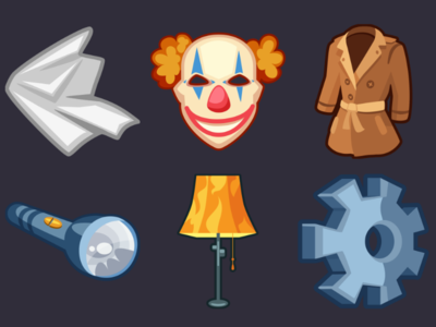 Detective Pack Icons 16 gear floor lamp flashlight coat clown mask cloth design icons game 2d vector cartoon inkscape