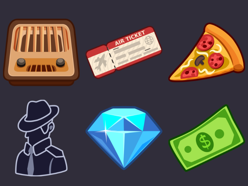 Detective Pack Icons 17 dollar diamond ui detective icon pizza plane ticket design radio icons game 2d vector cartoon inkscape