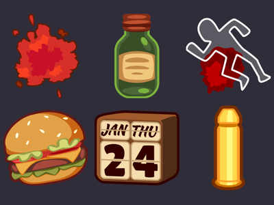 Detective Pack Icons 18 bullets calendar burger stain blood bottle body silhouette design icons game 2d vector cartoon inkscape