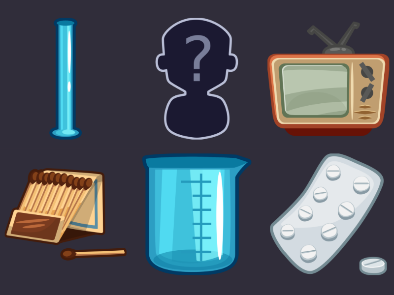 Detective Pack Icons 19 medicament measuring сup matches tv medical tube suspect icon design icons game 2d vector cartoon inkscape