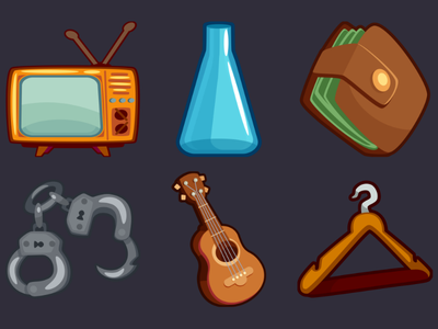 Detective Pack Icons 20 hanger guitar handcuffs wallet tube tv design icons game 2d vector cartoon inkscape