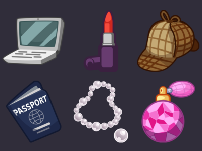 Detective Pack Icons 21 perfume pearl necklace passport sherlock holmes hat lipstick laptop design icons game 2d vector cartoon inkscape