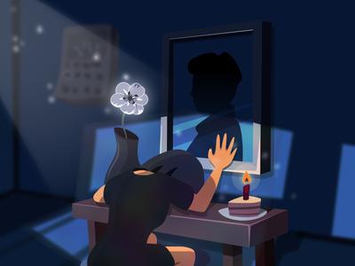 Grief illustration 2d vector cartoon inkscape